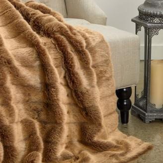 Plutus Brands Plutus Frost Mink Light Brown Faux Fur Luxury Throw