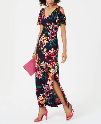 Connected Cold-Shoulder Floral Jersey Maxi Dress