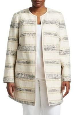 Lafayette 148 New York Lafayette 148 New York, Plus Size Pria Collarless Jacket