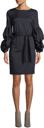Tahari ASL Gail Tiered Balloon-Sleeve Tie Waist Dress