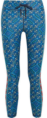 The Upside Cropped Printed Stretch Leggings - Turquoise