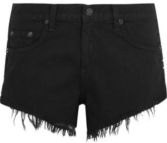 rag & bone - Cut-off Studded Denim Shorts - Black $195 thestylecure.com
