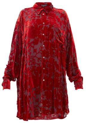 Ann Demeulemeester Floral Devore Velvet Blouse - Womens - Red