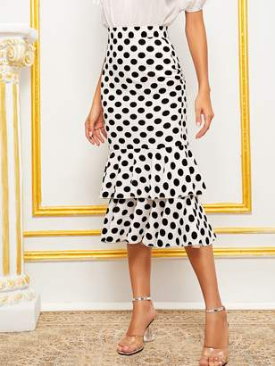 Shein Wide Waistband Layered Fishtail Hem Skirt