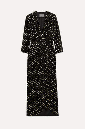 Monique Lhuillier Wrap-effect Velvet-jacquard Gown - Black