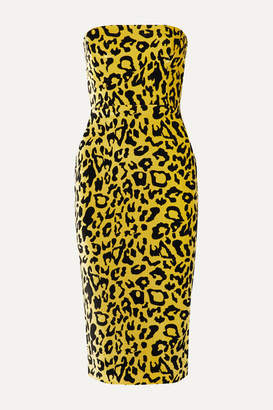 Alex Perry Nolan Strapless Leopard-print Velvet Midi Dress - Yellow