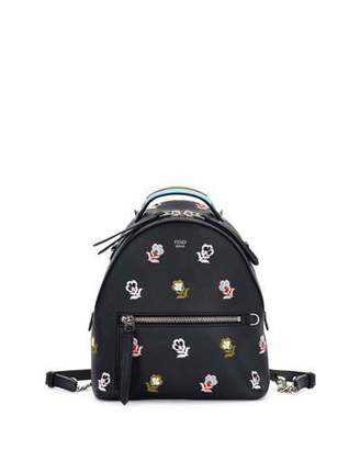 Fendi Zaino Mini Floral-Embroidered Backpack, Black $2,500 thestylecure.com