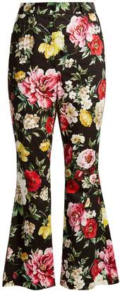 Dolce & Gabbana Floral-print kick-flare cropped trousers