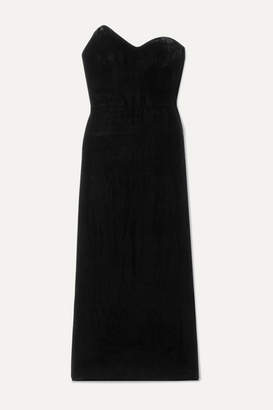 Monique Lhuillier Strapless Velvet Midi Dress - Black