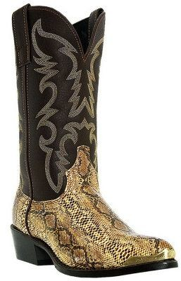 "Laredo Boots Men's Brown with Snake Print 12"" Cowboy Boots"