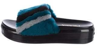 Prada Platform Fur Sandals