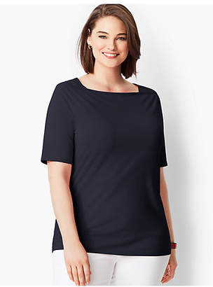 Talbots Envelope-Neck Tee - Solid