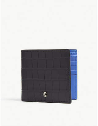 Alexander McQueen Croc-embossed leather billfold wallet
