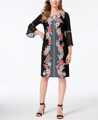 JM Collection Embellished Printed Dress, Created for Macy's