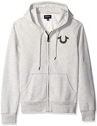 True Religion Men's Shoestring Horseshoe Hoodie Grey, Heather, M