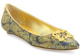 Manolo Blahnik Remota Embroidered Flats $765 thestylecure.com
