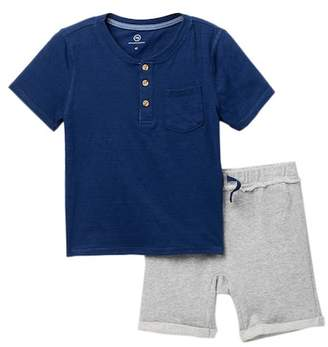 AG Jeans Indigo Textured Knit Henley & Shorts Set (Toddler Boys)