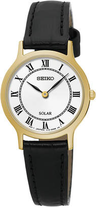 Seiko Women Solar Dress Black Leather Strap Watch 26mm SUP304