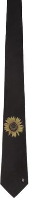 Alexander McQueen Black Sunflower Tie $165 thestylecure.com