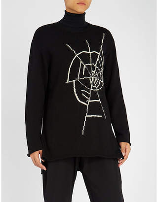Yohji Yamamoto Embroidered cotton waffle-knit jumper