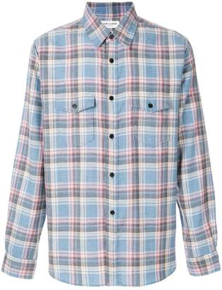 Saint Laurent rinse plaid narrow collar shirt