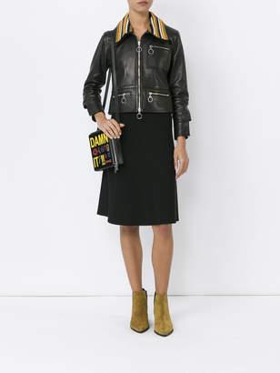 Wales Bonner Crochet-collar leather biker jacket