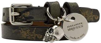 Alexander McQueen Khaki Camo Double-Wrap Skull Bracelet