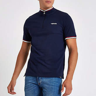 River Island Gola navy funnel neck zip front T-shirt