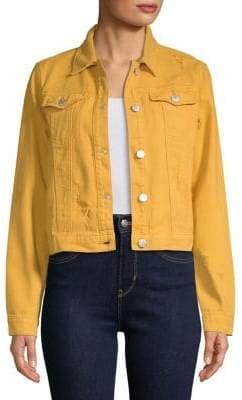 Miss Selfridge Ripped Long-Sleeve Cropped Cotton Jacket