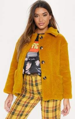 PrettyLittleThing Mustard Button Front Borg Jacket
