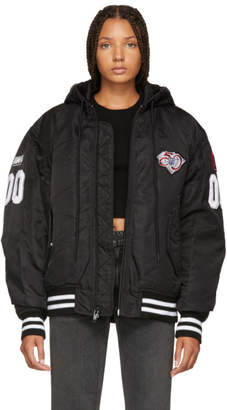 Alexander Wang Black Athletic Patch Bomber Jacket