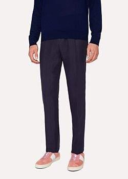 Paul Smith Men's Slim-Fit Dark Navy Linen Trousers