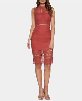 Bardot Mock-Neck Lace Dress