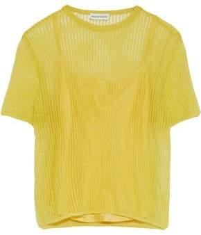 Mansur Gavriel Ribbed Crochet-knit Top
