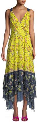 Tanya Taylor Everly Garden-Print Sleeveless Maxi Dress