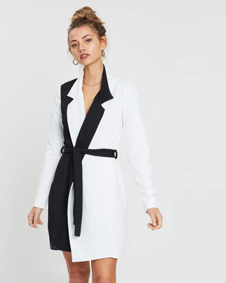 Missguided Long Sleeve Monochrome Blazer Dress