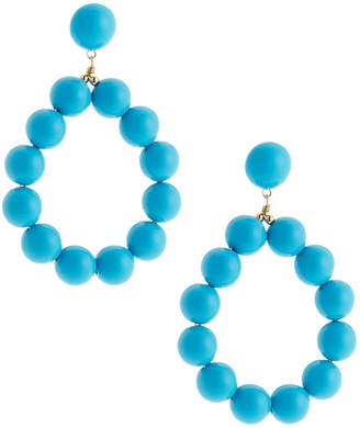 Kenneth Jay Lane Beaded Hoop Drop Earrings, Turquoise