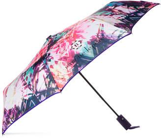 Nanette Lepore Auto Open Purple Floral Umbrella