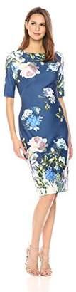 Gabby Skye Women's Elbow Sleeve Round Neck Midi Scuba Sheath Dress