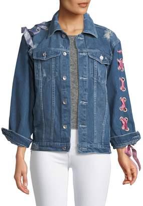 Haute Rogue Lace-Up-Sleeve Denim Jacket