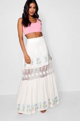 boohoo Inari Embroidered Lace Insert Maxi Skirt