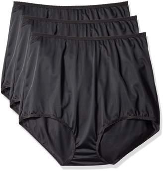 Shadowline Women's Plus-Size Panties-Seamless Nylon Brief (3 Pack)
