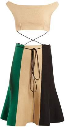 J.W.Anderson Contrast-panel cut-out linen-blend dress