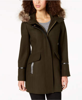 Trina Turk Hooded Fur-Trim Coat