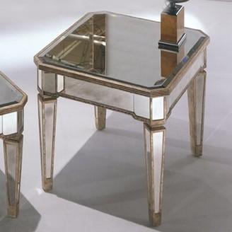 Willa Arlo Interiors Roehl Mirrored End Table in Antique Silver Willa Arlo Interiors