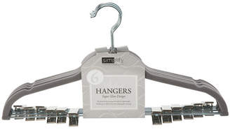 Simplify 6 Pack Velvet Hangers with Clips in Gray
