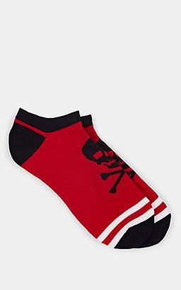 Corgi Men's Skull-Print Stretch-Cotton Ankle Socks - Red