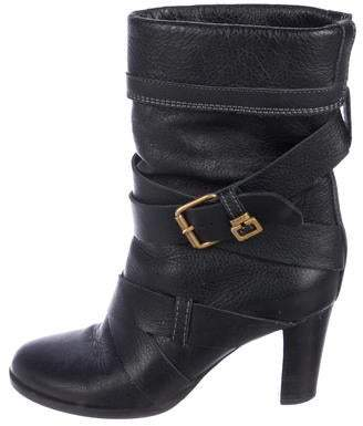 Chloé Leather Mid-Heel Boots