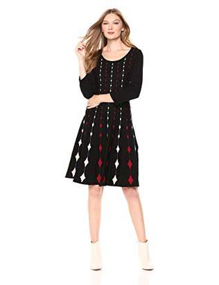 Gabby Skye Women's 3/4 Sleeve Scoop Neck Sweater Fit and Flare Dress