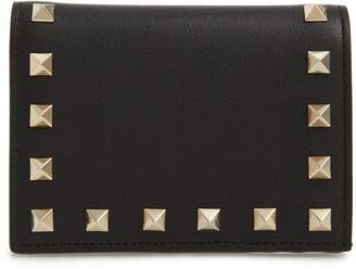 Valentino Rockstud Calfskin Leather French Wallet